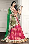 Georgette Heavy Embroidered Pink Semi Stitched Bridal Lehenga - EBLC116327191