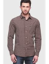 Brown Check Slim Fit Casual Shirt Jogur