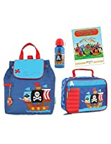 Stephen Joseph Quilted Backpack, Lunch Box, & Bottle Set, Pirate
