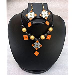 Anikalan Designs Silver Star Terracotta Necklace Set