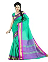 Paaneri Forest Green Color with Golden Border Blended Cotton Saree_15103500905