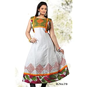 White green casual wear anarkali style kurti