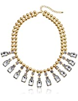 """Round Disc with Clear Stone Statement Bib Necklace, 15"""""""