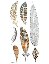 Spestyle Non Toxic And Waterproof Golden Gold & Silver & Black Metallic Temporary Tattoo Sticker Feather Design