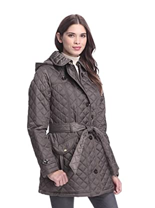 Laundry by Design Women's Quilted Jacket with Belt (Smokey Grey)
