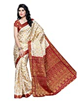Mimosa Kanchipuram Tassar Wedding Silk Saree White(3050-65-HLFWHITEMARUN)