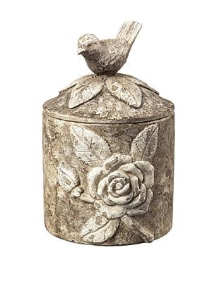 Artistic Bird-Design Trinket Box, Vintage White