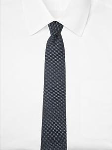 Aquascutum Men's Micro Diamond Silk Tie (Navy/Light Blue)