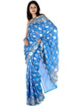 Azure Sari from Banaras with Leaves Woven in Khadi - Pure Silk