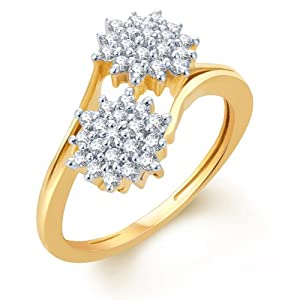 Sukkhi Intricately Crafted Gold and Rhodium Plated CZ Ring Size 12 For Women(172R600)