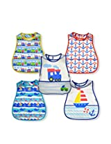 green sprouts 5-Pack of Scenic Waterproof Bibs, Train/Ship