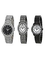 August Steiner Dazzling Diamond Three Watch Set - As8063Bk