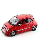 2008 Fiat 500 Abarth, Red Bburago 11028 1/18 Scale Diecast Model Toy Car