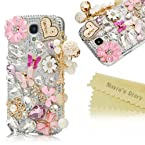 Mavis's Diary 3D Handmade Bling Rhinestone Crystal Hard PC Case Cover with Flower Butterfly Diamond for Samsung GALAXY S4 S IV I9500 with Soft Clean Cloth Samsung Galaxy Note 3 SM-N9000
