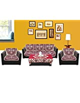 WSB Floral 11 Piece Cotton Sofa Cover Set - Maroon 65x57 CM