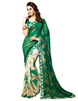 Roop Craft Women's Faux Georgette Saree with Blouse Piece(RCS23_Green)