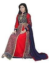 Dani Fashions Women Georgette Salwar Suit Set (Bfd3005 _Red _Free Size)