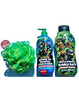 The # 1 Teen Mutant Ninja Turtle Kids Shower and Bubble Bath Gift Pack... Comes with 3-in-one Children Shower Gel - Shampoo - Conditioner and Kids Bubble Bath Liquid Soap, Plus a Complimentary Jumbo Body Wash Sponge.