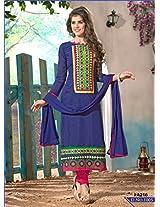 Fabfirki-Blue and Pink New Designer Salwar Suit