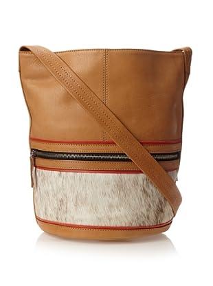 HARE + HART Women's Small Bucket Bag, Camel Combo
