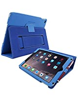 Snugg iPad Air 2 Case Smart Cover with Kick Stand & Lifetime Guarantee (Electric Blue Leather) for Apple iPad Air 2 (2014)