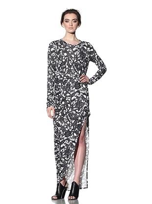 THAKOON CARBON COPY Women's Long Draped Front Dress (Black/White)