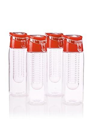 AdNArt Flavour-It Fruit Infuser Tritan Water Bottle, Red, 20-Oz. Set of 4