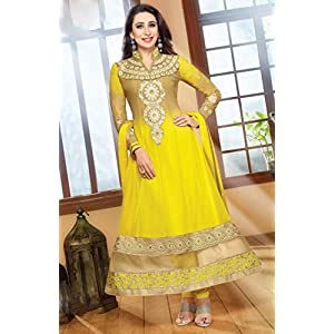 Karishma Kapoor Georgette Anarkali Suit, Yellow