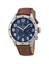 Tommy Hilfiger Multi-Function Blue Dial Brown Leather Men's Watch - Tomw1791066