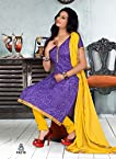 Fabfirki Blue and Yellow Unstitched Cotton Salwar Suit