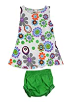 Ssmitn Baby Wear Flowers Everywhere Green Printed Frock With Bloomer For Girls