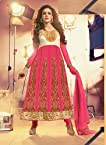 New Art White and Pink Kali Work Anarkali Suit