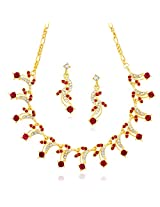 Xcite Pink & White Stone Fancy Necklace Set With Matching Earrings for women's / Girl's XNS245