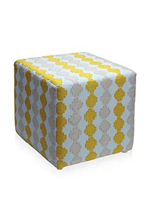 Better Living Collection Checkerboard Suzani Square Ottoman (Cloud)