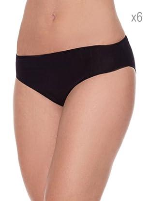 Pierre Cardin Pack x 6 Braguitas Bikini Canalé (Negro)