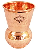"""Indian Art Villa 4.4"""" X 3.4"""" Handmade hammered 100% Pure Copper Glass Cup Volume 375 ML for Home Decorate Water Storage Good Health Benefitsn Indian Ayurveda Yoga"""