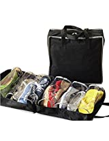 Packnbuy Shoe Storage Travel One (6 Pair Storage Shoe Organizer for Home Foldable and Portable for Travel) (Black Color)