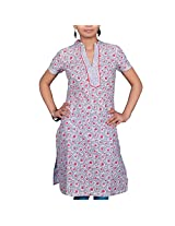 VGF 1/2 Sleeve Printed Cotton Kurti For Women-Medium
