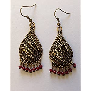 Surya Creations Antique Finish Gold Earrings With Red Beads