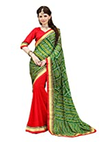 Bahubali Womens Half bandhni and half silk pattern fabric along with fancy lace(85605_Green and Red Colour Saree)