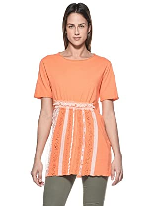 Crema Camiseta Encajes y Ribetes (Naranja)