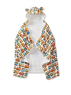 My Blankee Baby Hooded Towel with Ears (Trains White)