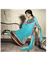 Aarna Designer Semi Stitched Sky Blue Suit For Women