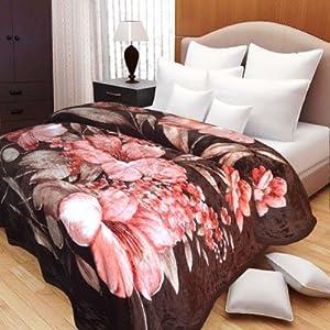 Elegant Floral Design On Dark Brown Base Mink Blanket For Single Bed