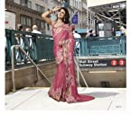 Designer Satin and Chiffon pink color Printed Saree