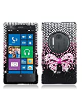 AIMO 3D Luxury Diamond Bling Case for Nokia Lumia 1020 [] (Pink Bow Tie / Black)