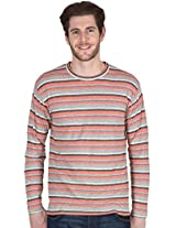Hypernation Grey and Orange Color Full Sleeves Stripped T-Shirts For Men