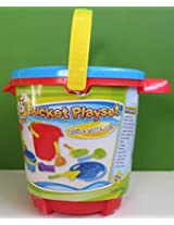 Red Bucket Pail Sand & Water Fun 15 Pieces Blue Seahorse Sifter Lid Molds Tools Beach Sandbox New
