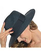 Fanny Men Women Large Fedora Trilby Panama Stylish Travel Sunhat (Black)