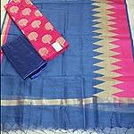 Blue Chanderi Cotton Dress Material With Dupatta